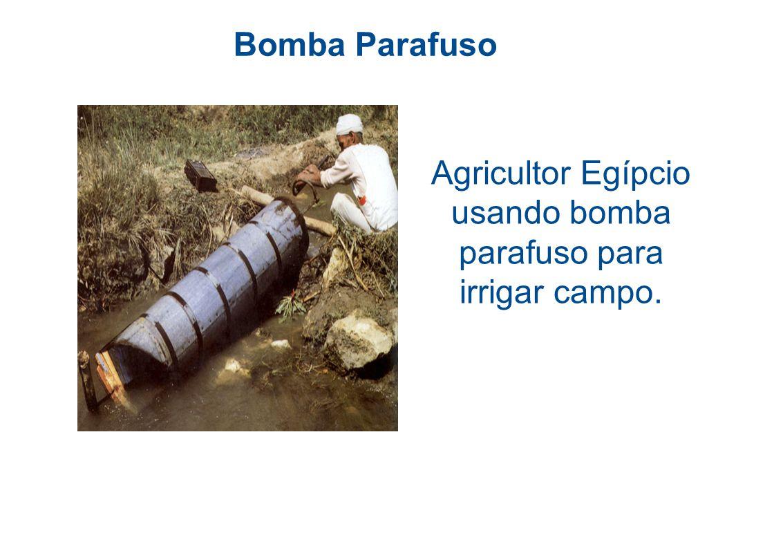 Agricultor Egípcio usando bomba parafuso para irrigar campo.