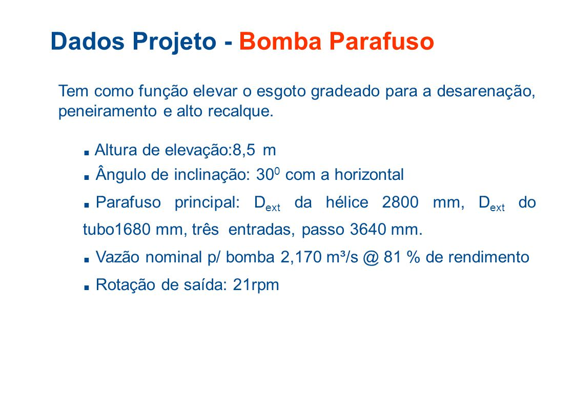 Dados Projeto - Bomba Parafuso