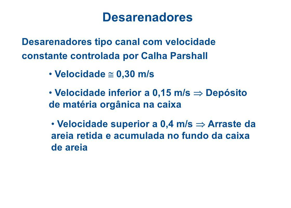 Desarenadores Desarenadores tipo canal com velocidade constante controlada por Calha Parshall. Velocidade  0,30 m/s.