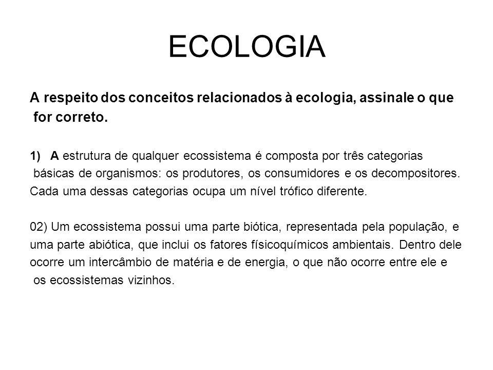 ECOLOGIA A respeito dos conceitos relacionados à ecologia, assinale o que. for correto.
