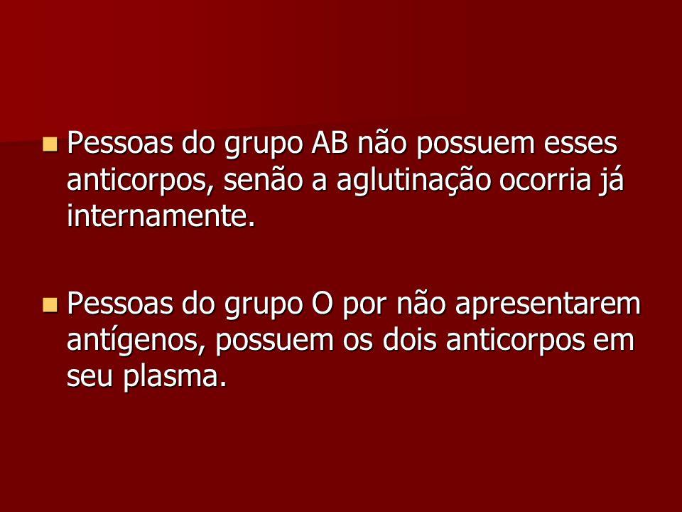 Pessoas do grupo AB não possuem esses anticorpos, senão a aglutinação ocorria já internamente.
