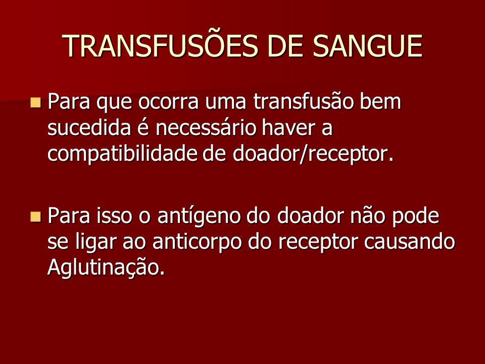 TRANSFUSÕES DE SANGUE Para que ocorra uma transfusão bem sucedida é necessário haver a compatibilidade de doador/receptor.