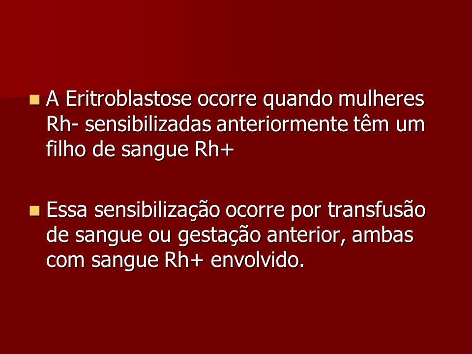 A Eritroblastose ocorre quando mulheres Rh- sensibilizadas anteriormente têm um filho de sangue Rh+