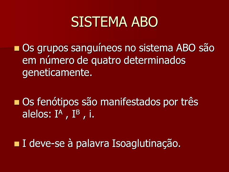 SISTEMA ABO Os grupos sanguíneos no sistema ABO são em número de quatro determinados geneticamente.