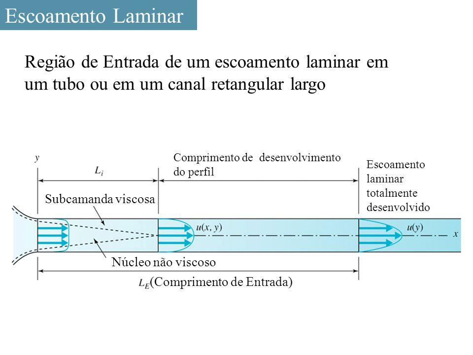 Escoamento Laminar Região de Entrada de um escoamento laminar em um tubo ou em um canal retangular largo.