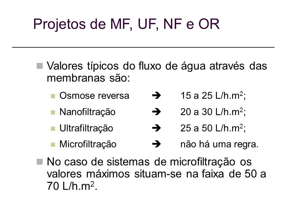 Projetos de MF, UF, NF e OR Valores típicos do fluxo de água através das membranas são: Osmose reversa  15 a 25 L/h.m2;