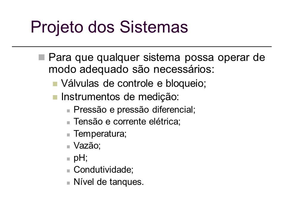 Projeto dos Sistemas Para que qualquer sistema possa operar de modo adequado são necessários: Válvulas de controle e bloqueio;