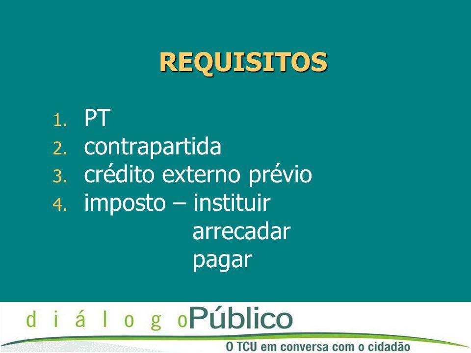 REQUISITOS PT contrapartida crédito externo prévio imposto – instituir