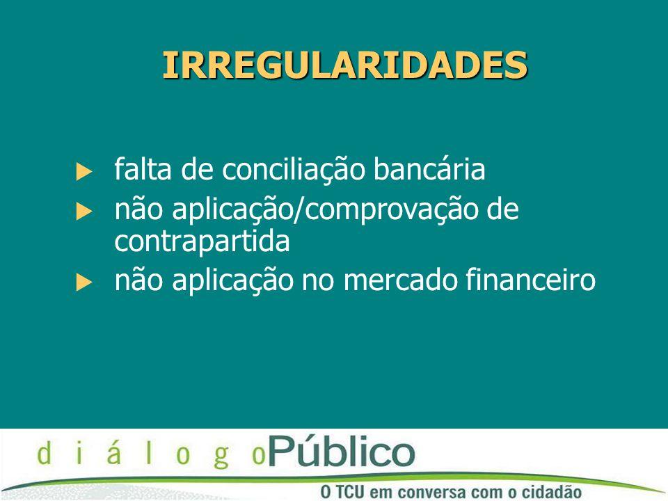 IRREGULARIDADES falta de conciliação bancária
