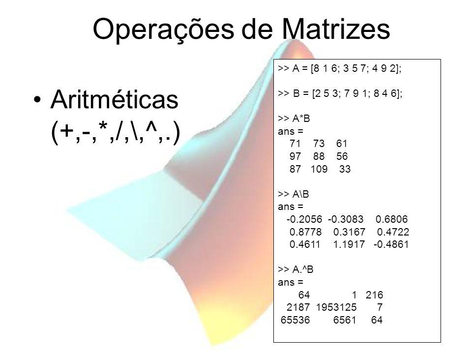 Operações de Matrizes Aritméticas (+,-,*,/,\,^,.)