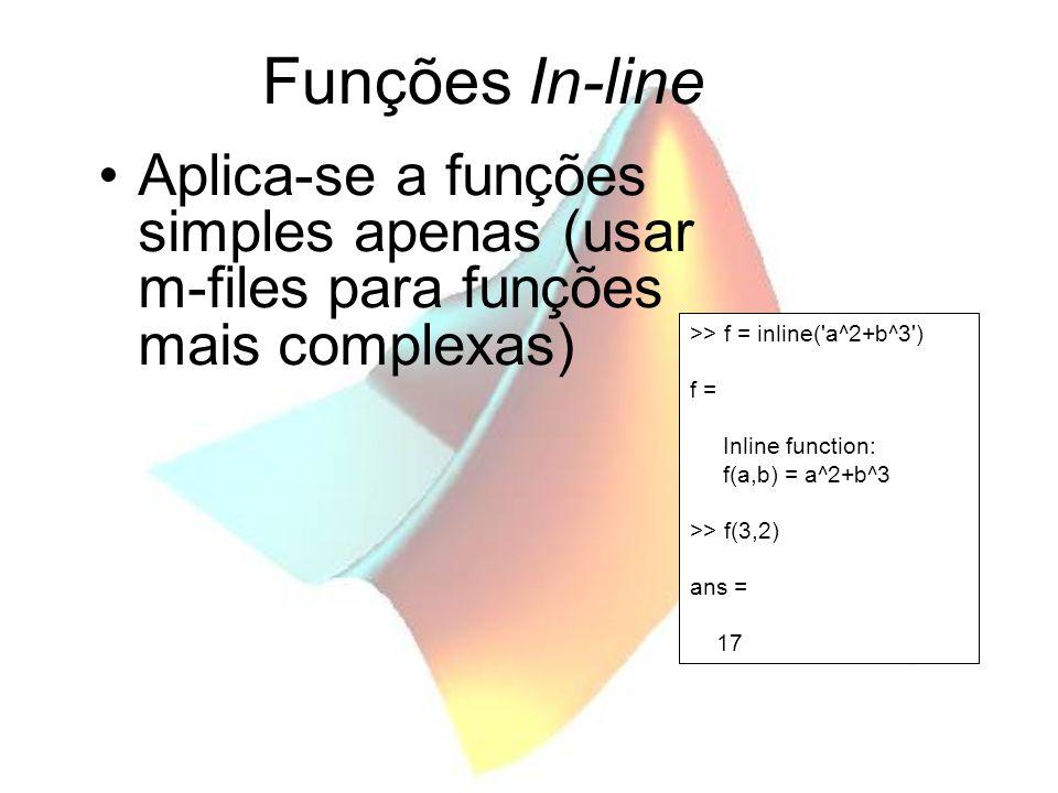 Funções In-line Aplica-se a funções simples apenas (usar m-files para funções mais complexas) >> f = inline( a^2+b^3 )