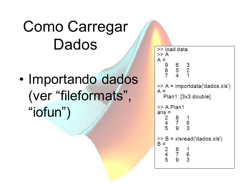 Como Carregar Dados Importando dados (ver fileformats , iofun )