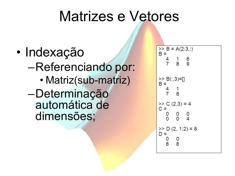 Matrizes e Vetores Indexação Referenciando por: