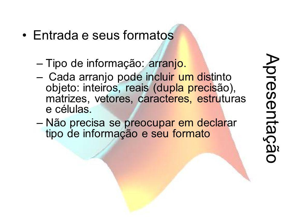 Apresentação Entrada e seus formatos Tipo de informação: arranjo.