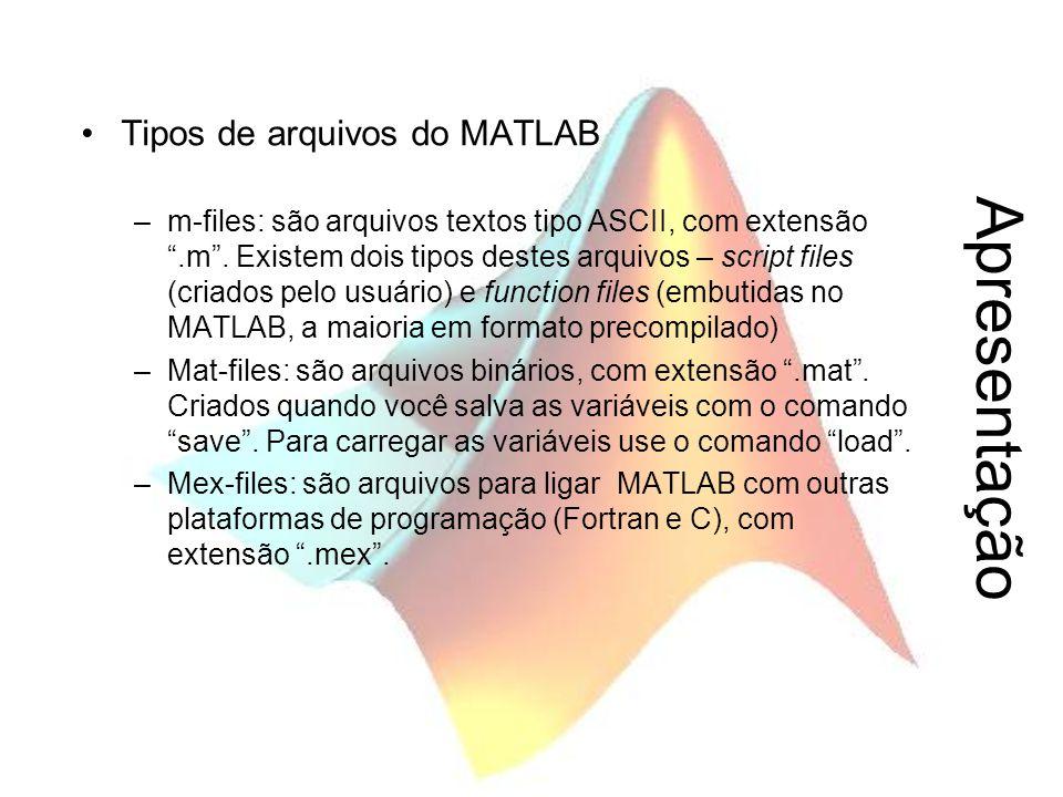 Apresentação Tipos de arquivos do MATLAB