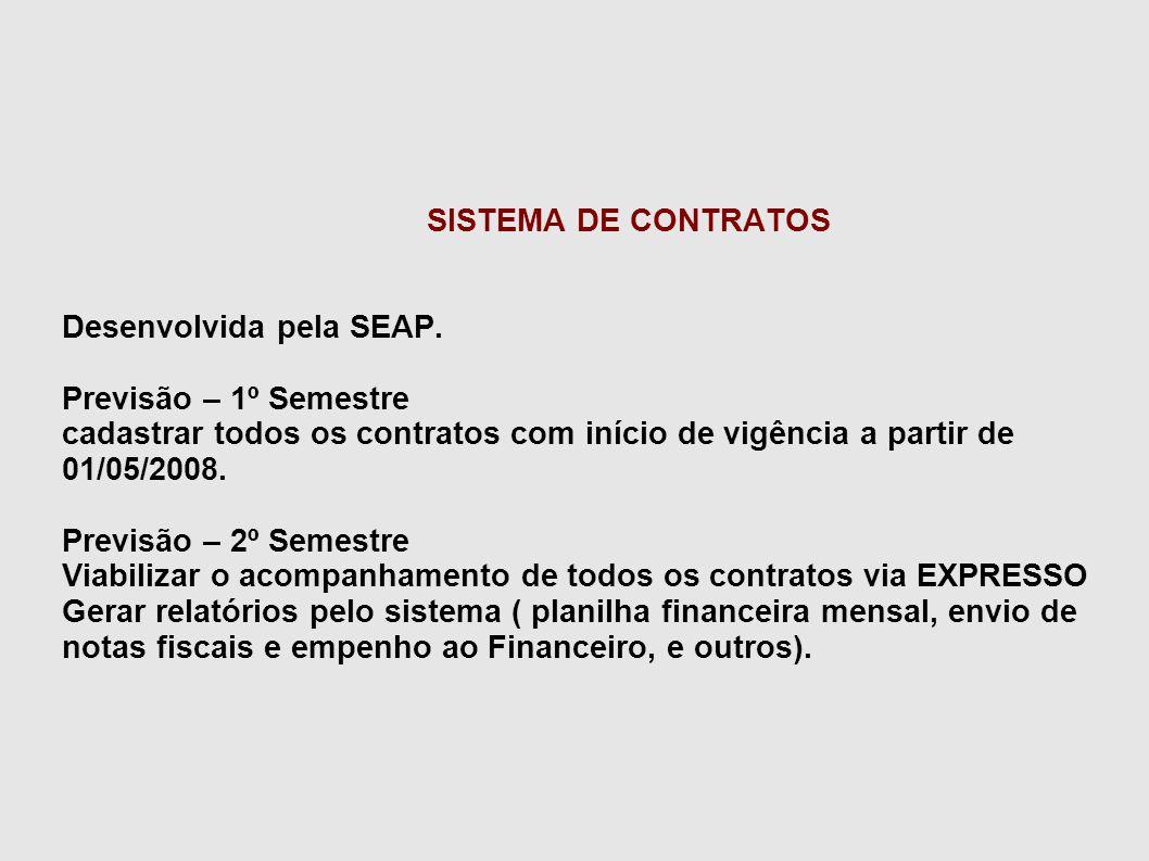 SISTEMA DE CONTRATOS Desenvolvida pela SEAP. Previsão – 1º Semestre. cadastrar todos os contratos com início de vigência a partir de 01/05/2008.