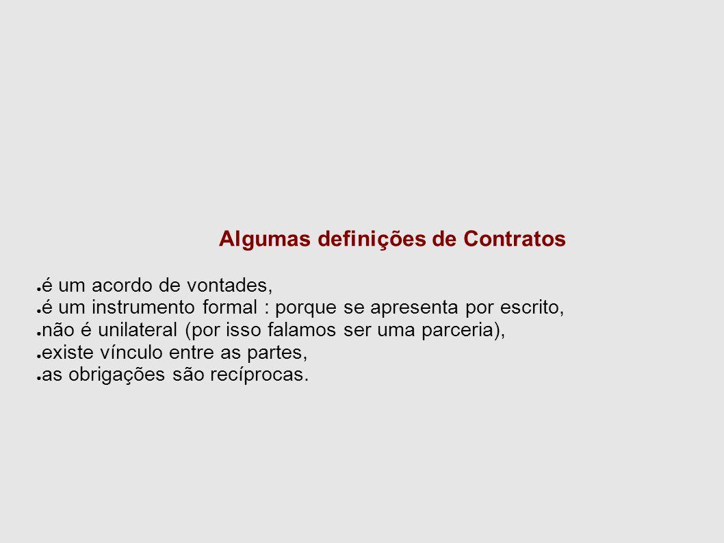 Algumas definições de Contratos