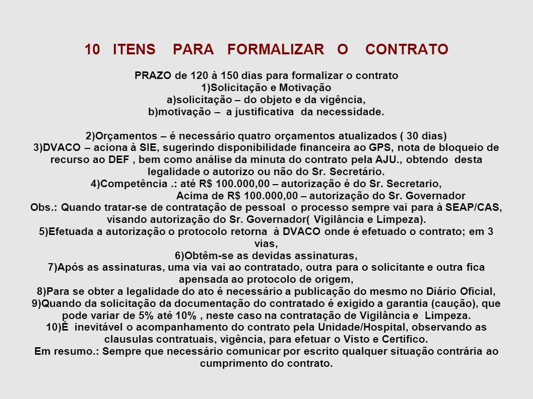 10 ITENS PARA FORMALIZAR O CONTRATO