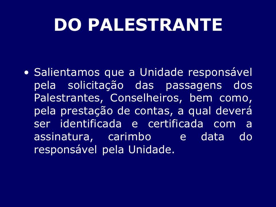 DO PALESTRANTE