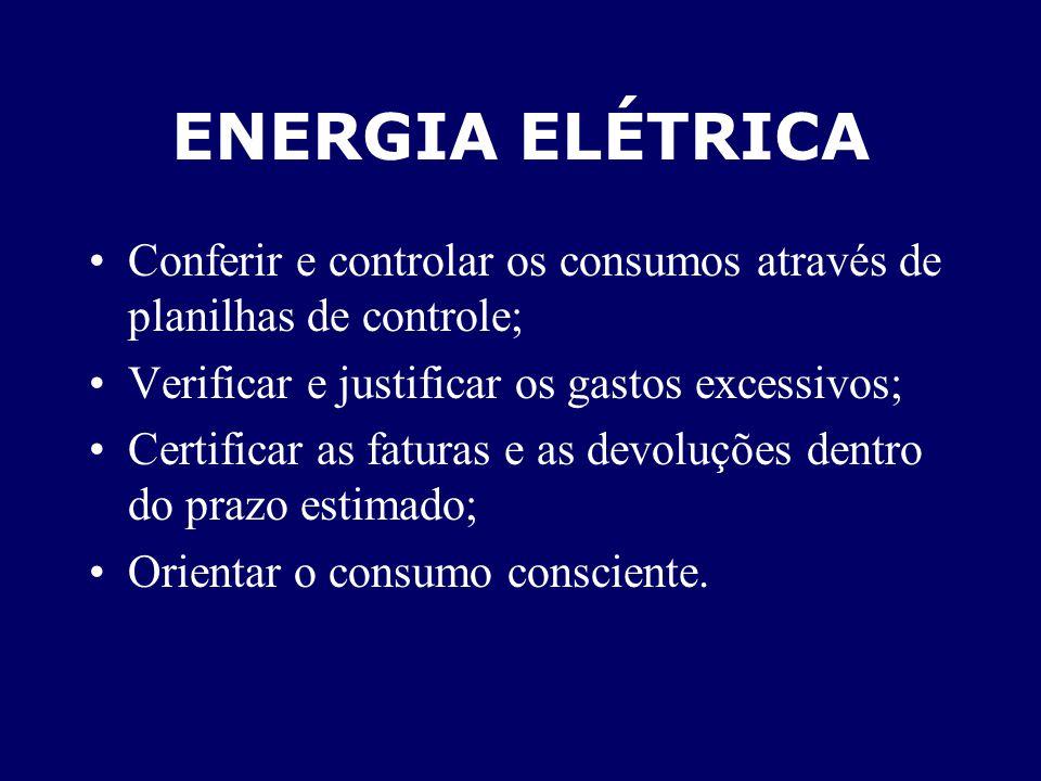 ENERGIA ELÉTRICA Conferir e controlar os consumos através de planilhas de controle; Verificar e justificar os gastos excessivos;