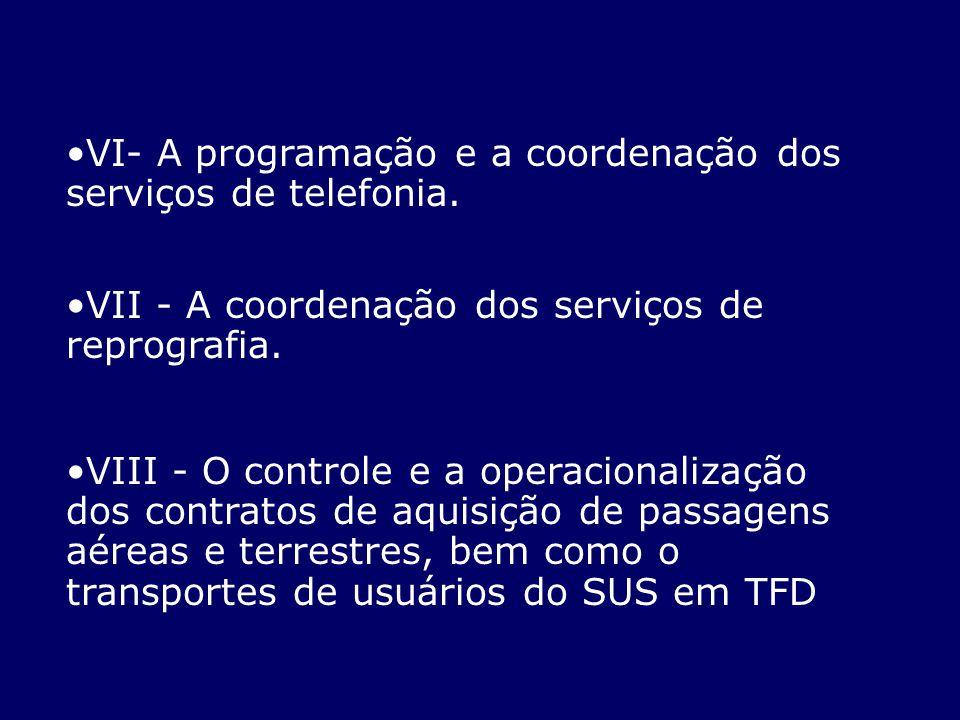 VI- A programação e a coordenação dos serviços de telefonia.