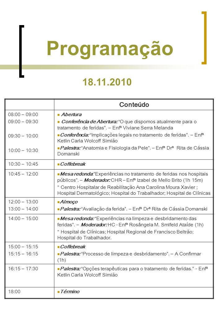 Programação 18.11.2010 Conteúdo 08:00 – 09:00 09:00 – 09:30