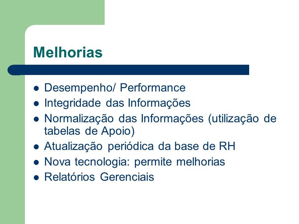 Melhorias Desempenho/ Performance Integridade das Informações