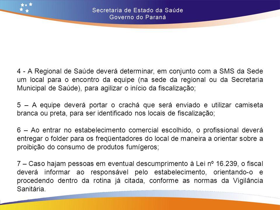 4 - A Regional de Saúde deverá determinar, em conjunto com a SMS da Sede um local para o encontro da equipe (na sede da regional ou da Secretaria Municipal de Saúde), para agilizar o início da fiscalização;