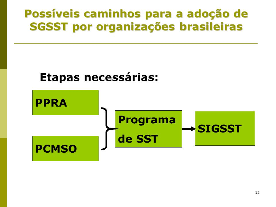 Possíveis caminhos para a adoção de SGSST por organizações brasileiras