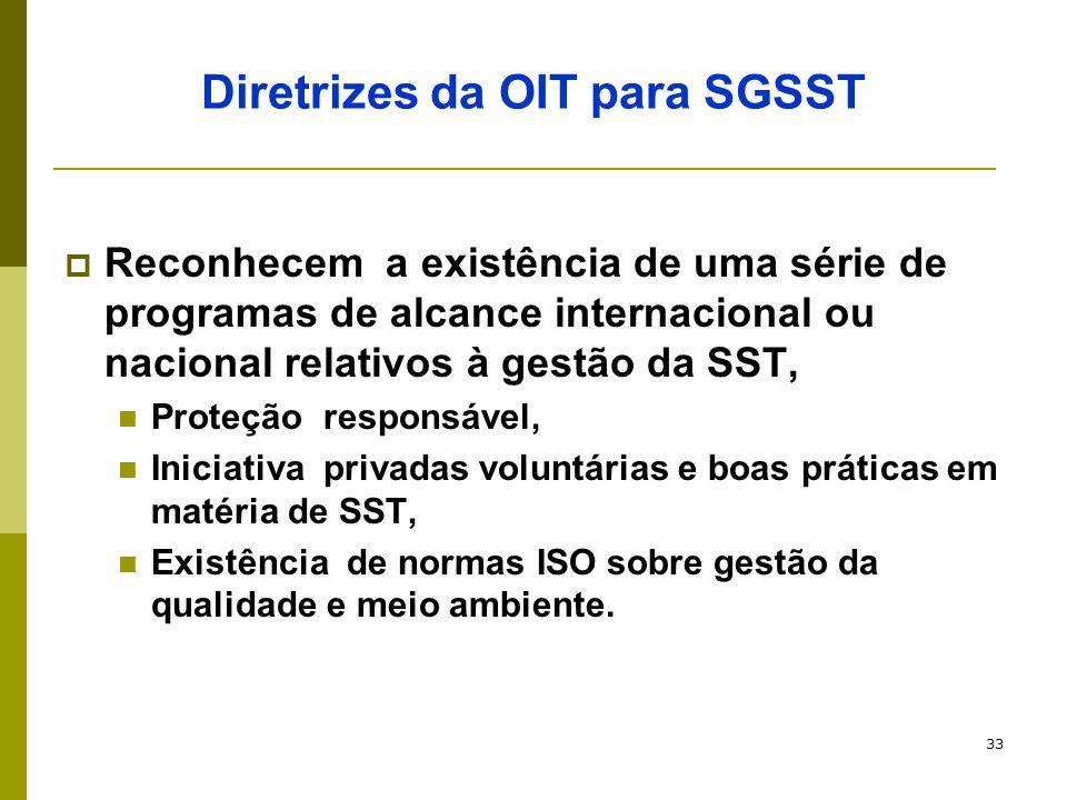 Diretrizes da OIT para SGSST