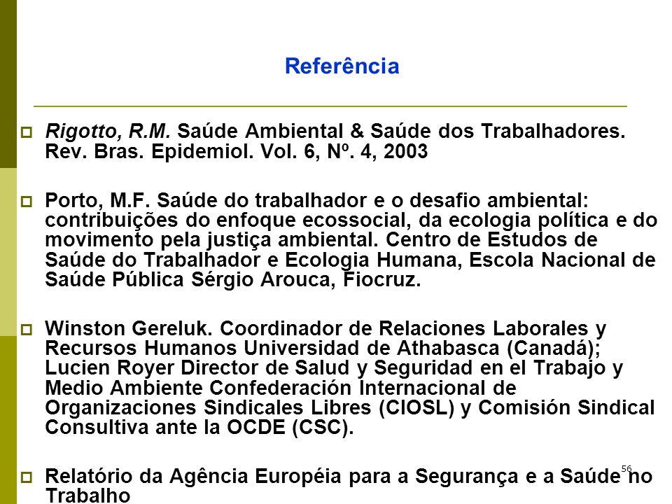 Referência Rigotto, R.M. Saúde Ambiental & Saúde dos Trabalhadores. Rev. Bras. Epidemiol. Vol. 6, Nº. 4, 2003.