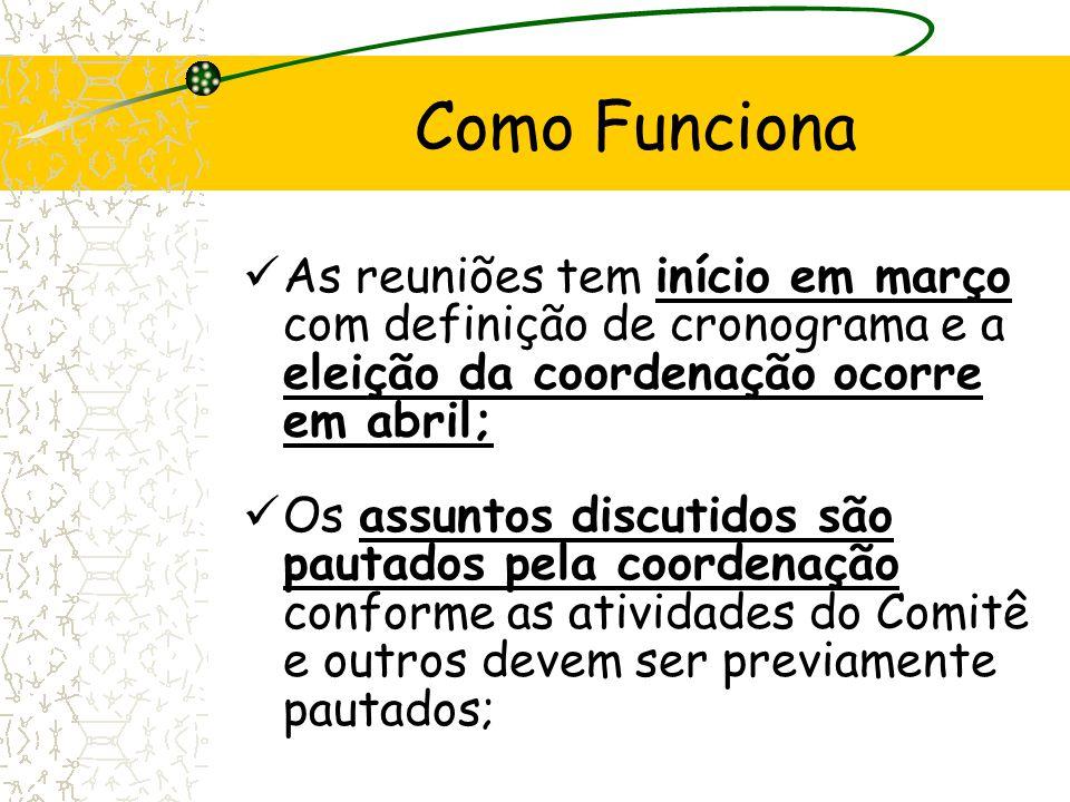 Como Funciona As reuniões tem início em março com definição de cronograma e a eleição da coordenação ocorre em abril;