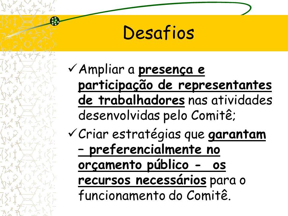 Desafios Ampliar a presença e participação de representantes de trabalhadores nas atividades desenvolvidas pelo Comitê;