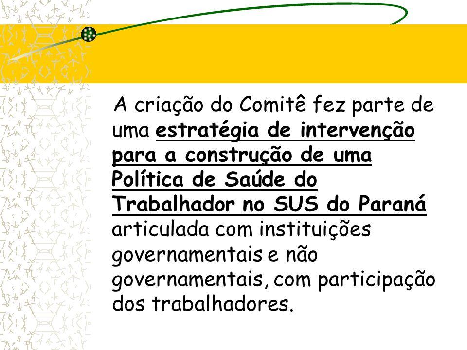 A criação do Comitê fez parte de uma estratégia de intervenção para a construção de uma Política de Saúde do Trabalhador no SUS do Paraná articulada com instituições governamentais e não governamentais, com participação dos trabalhadores.