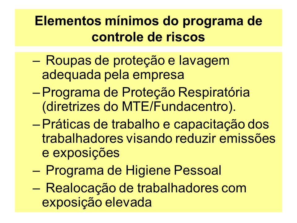 Elementos mínimos do programa de controle de riscos