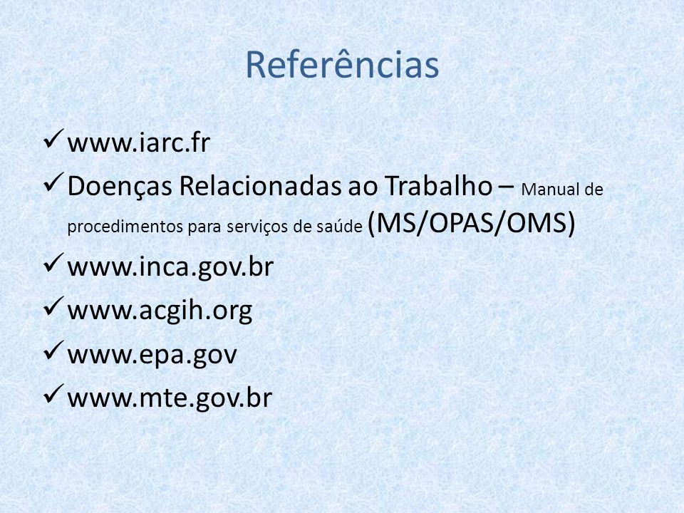 Referências www.iarc.fr