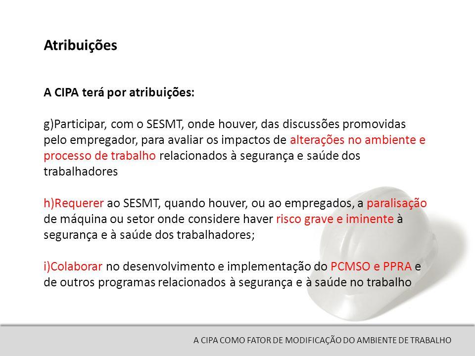 Atribuições A CIPA terá por atribuições:
