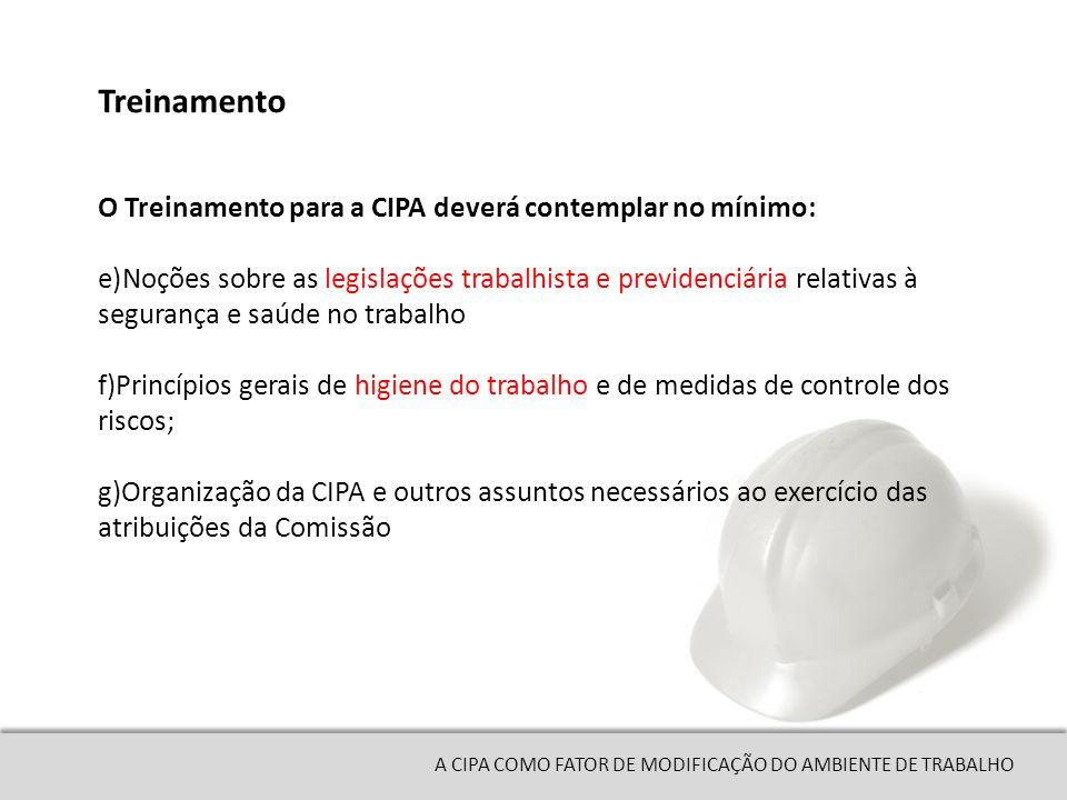 Treinamento O Treinamento para a CIPA deverá contemplar no mínimo: