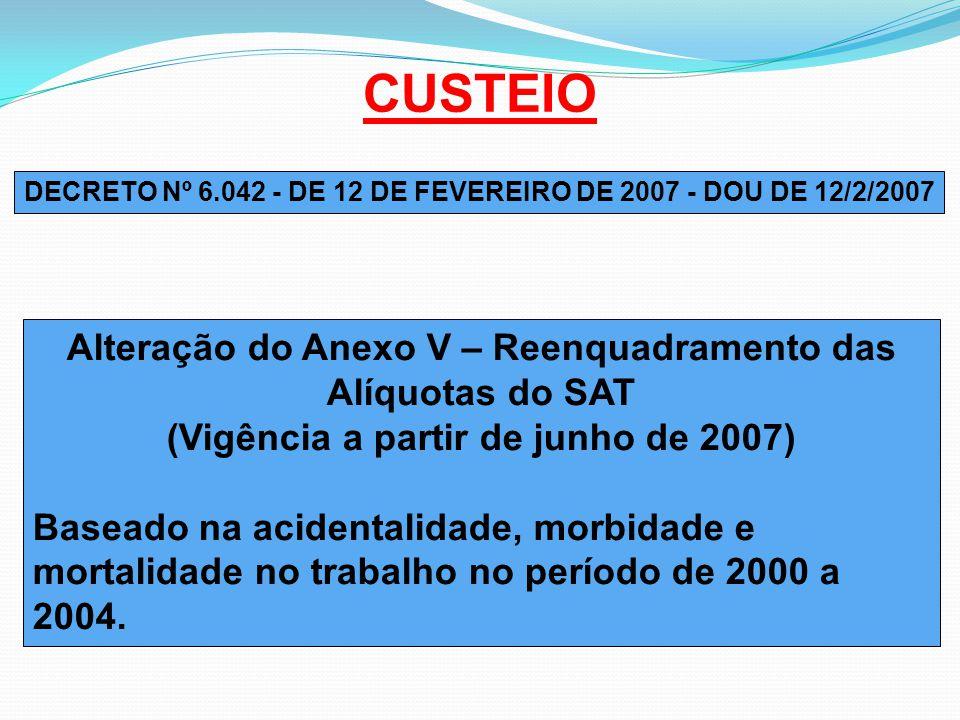 CUSTEIO Alteração do Anexo V – Reenquadramento das Alíquotas do SAT