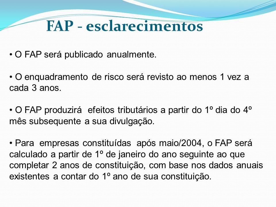 FAP - esclarecimentos O FAP será publicado anualmente.