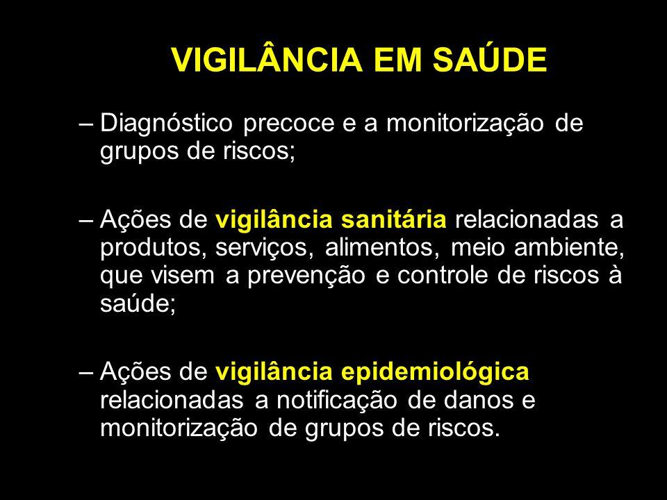 VIGILÂNCIA EM SAÚDE Diagnóstico precoce e a monitorização de grupos de riscos;