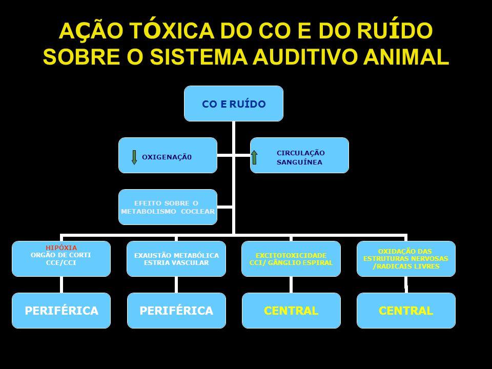 AÇÃO TÓXICA DO CO E DO RUÍDO SOBRE O SISTEMA AUDITIVO ANIMAL