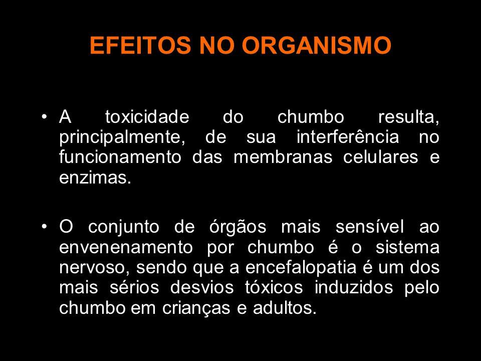 EFEITOS NO ORGANISMO A toxicidade do chumbo resulta, principalmente, de sua interferência no funcionamento das membranas celulares e enzimas.