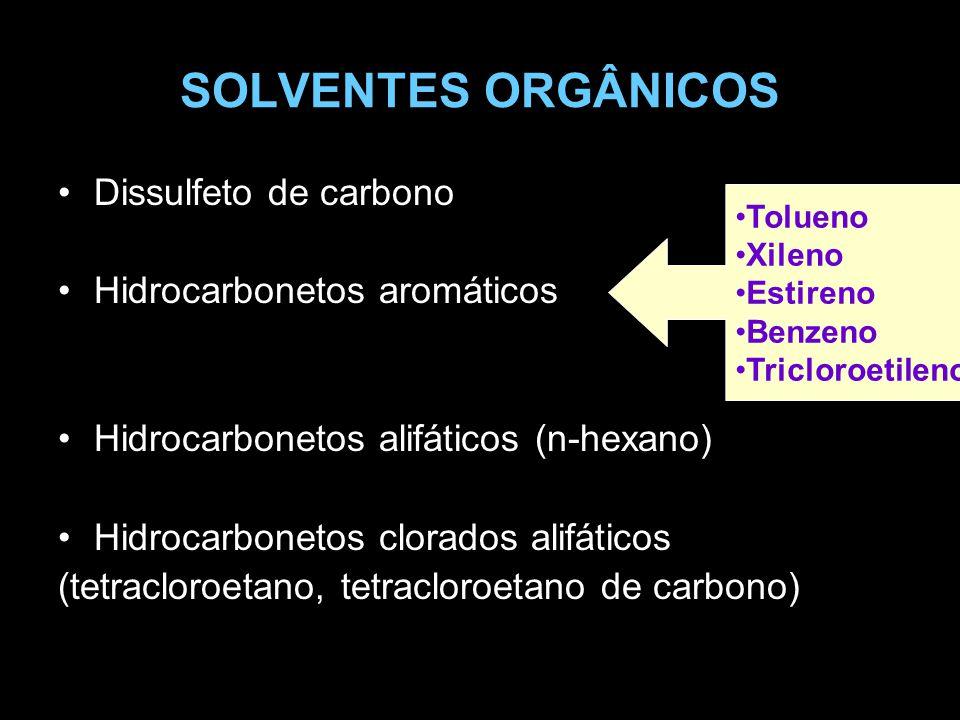 SOLVENTES ORGÂNICOS Dissulfeto de carbono Hidrocarbonetos aromáticos