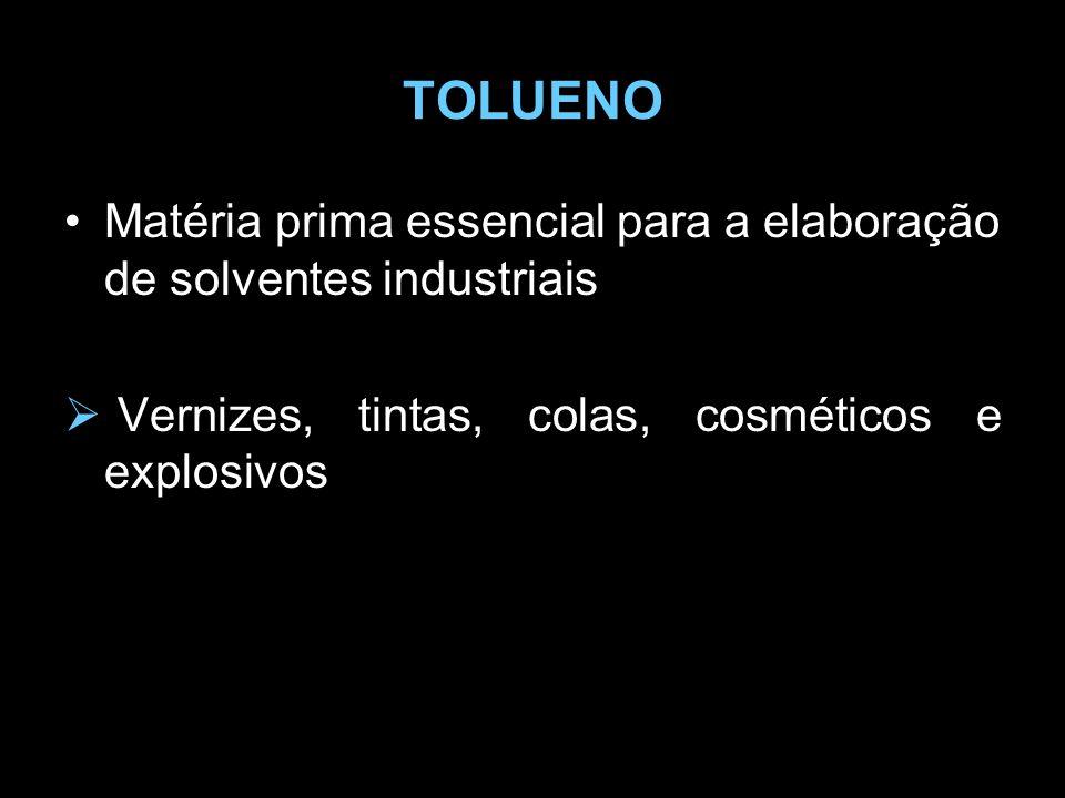 TOLUENO Matéria prima essencial para a elaboração de solventes industriais.
