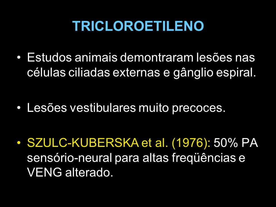TRICLOROETILENO Estudos animais demontraram lesões nas células ciliadas externas e gânglio espiral.