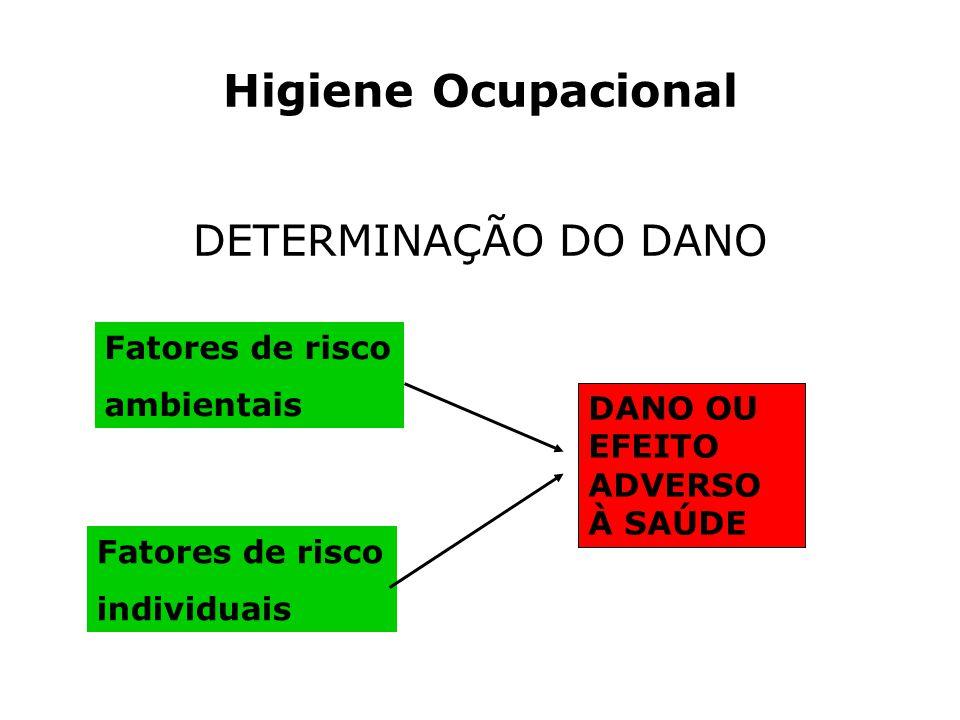 Higiene Ocupacional DETERMINAÇÃO DO DANO Fatores de risco ambientais
