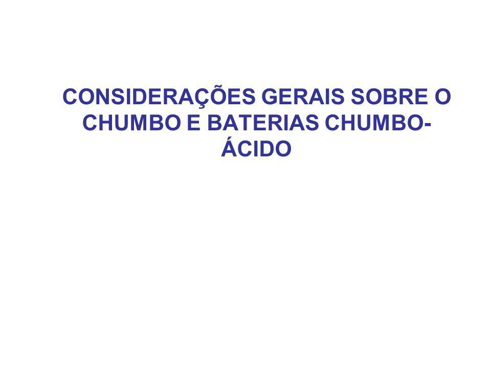 CONSIDERAÇÕES GERAIS SOBRE O CHUMBO E BATERIAS CHUMBO-ÁCIDO