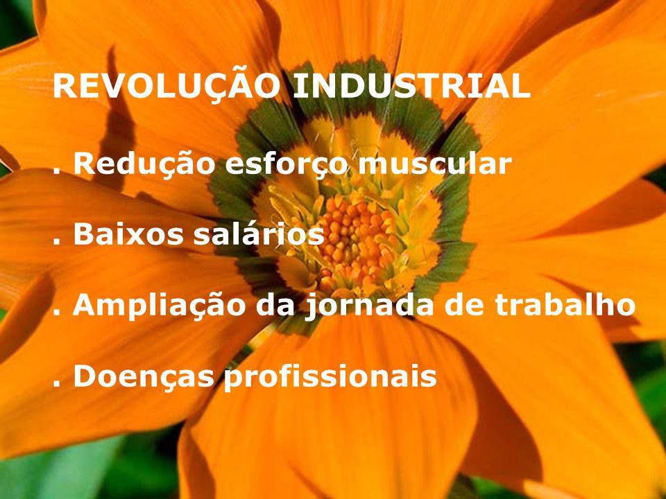 REVOLUÇÃO INDUSTRIAL . Redução esforço muscular . Baixos salários