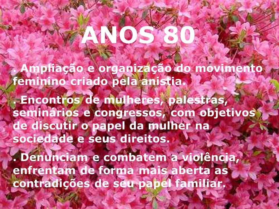 ANOS 80 . Ampliação e organização do movimento feminino criado pela anistia.